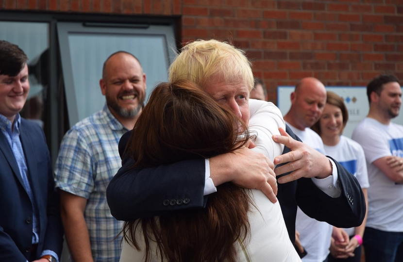 Trudy Harrison MP greets Rt. Hon. Boris Johnson MP at the Cumbria hustings